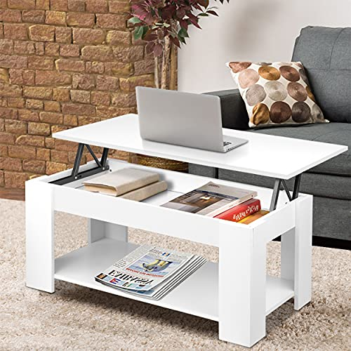 Coffee Table With Storage, Lift Up Coffee Table For Living Room, Wooden Coffee Tables With 1 Shelf Large Hidden Storage Modern Rectangular Lift-Top Sofa End Tea Table for Living Room Furniture (White)