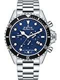 EDOX Reloj de pulsera para hombre Skydiver 70s, cronógrafo, fecha, analógico, cuarzo, 10238 3NM BUI