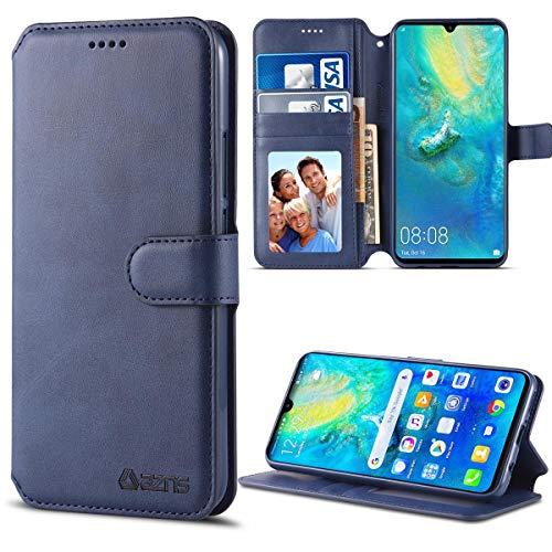 EUDTH Capa para Huawei Mate 20, capa carteira magnética flip de couro de luxo com compartimentos para cartão capa protetora fina para Huawei Mate 20 6,5 polegadas - azul