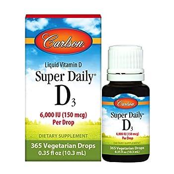 Carlson - Super Daily D3 6000 IU  150 mcg  per Drop Heart & Immune Health Liquid Vitamin D3 1-Year Supply Unflavored 365 Drops