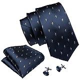 Barry.Wang - Juego de corbatas de seda para hombre Azul Blue-5069 Talla única