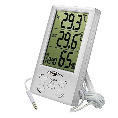 LINGSFIRE Digital LCD Indoor Outdoor Thermometer Humidity Hygrometer with Min Max Value and Clock (TA298)