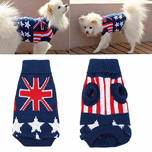 Cat Union Jack Toutous Chien Puppy Hiver Chaud Manteau Pull Costume Apparel Dog Sweater