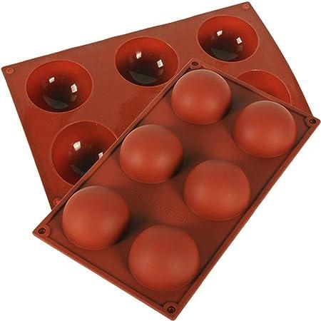 Jasinber Set de 2 Molde de silicona de semi esfera de 6 cavidades grandes para hacer chocolate, pastel, jalea, mousse de cúpula (2 Pack)