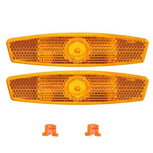 LNIMIKIY - Reflectores de radios para bicicleta, 1 par, reflectantes, seguros para montaña, bicicleta de carretera, decoración de advertencia segura, amarillo