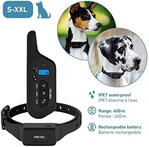 PetTec Hilfe für Hundeerziehung bei Bellen und Jagd mit Fernbedienung 16 Impulsstufen & zusätzlich Ton || 600m Reichweite, wiederaufladbarer Akku, für kleine und große Hunde