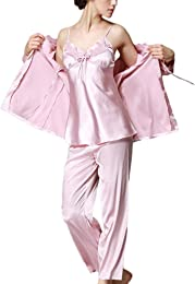 Femme Couleur Unie Ensemble Pyjama en Satin Vêteme