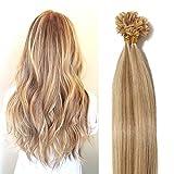 Extension Cheveux Naturel Keratine 0.5g - Rajout Cheveux Humain Pose à Chaud 100 Mèches (#12+613 MARRON CLAIR MECHE BLOND CLAIR, 40cm)
