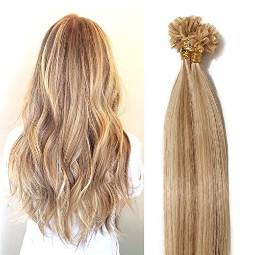 Extensions Echthaar Bondings 100% Remy Haarverlängerung 100 Strähnen - 50g bondings extensions echthaar 0,5g (hell Gold-braun/gebleichtes Blond #12/613) 40cm