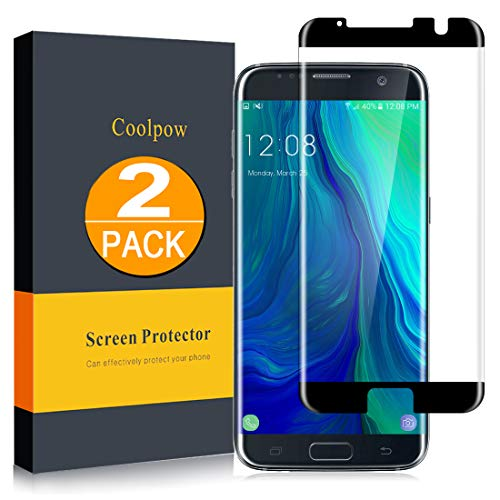 [2 Pack]Samsung Galaxy S7 Edge Screen Protector Tempered Glass [Case Friendly][Anti Scratch][3D Curved][3d Full Coverage][HD Clear]Coolpow Tempered Glass Screen Protector for Samsung Galaxy S7 Edge
