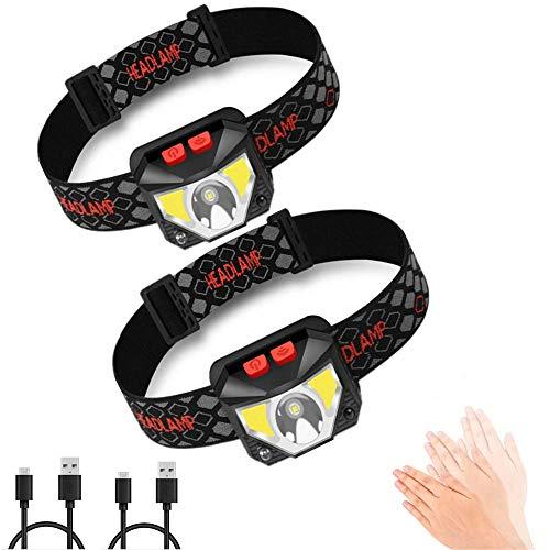 SLKIJDHFB Linterna frontal LED, recargable por USB, súper brillante, 1000 lúmenes, COB...