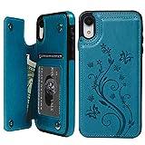 iPhone XR ケース iPhone XR ウォレットケース 押し花型 バタフライ レザー スマホケース 多機能カード収納 スタンド 機能ケース 人気 おしゃれ 耐汚れ 衝撃吸収 スマートフォン全面保護カバー ブルー