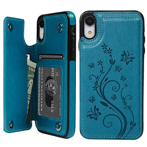 promixc Handyhülle für iPhone XR Hülle, PU Leder Schutzhülle Handytasche, Flip Case Wallet Kreditkarten Halter Brieftasche Handyhülle mit Ständer Funktion und Magnetic Snap für iPhone XR – Blau