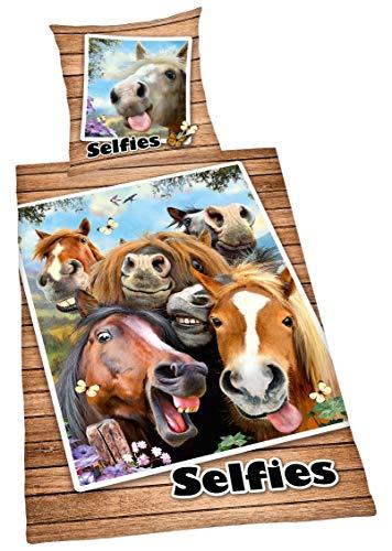 Bettwäsche Selfies Pferde, Kopfkissenbezug 80x80cm, Bettbezug 135x200cm, mit Marken-RV, Renforce