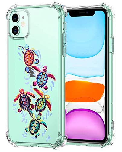 Oihxse - Carcasa compatible con [iPhone 12 Pro funda transparente de silicona TPU suave transparente con diseño de tortuga 5