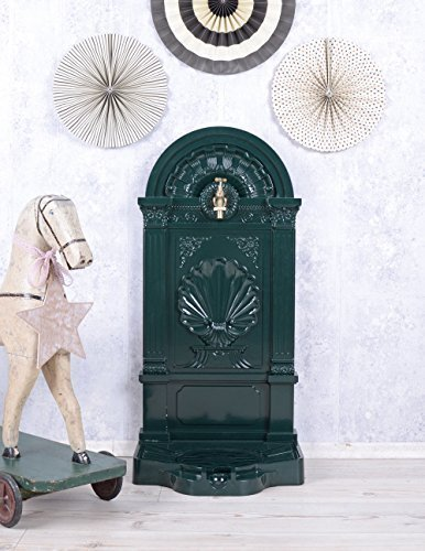 Brunnen Landhaus Zierbrunnen Renaissance Stil Metal Brunnen grün mit Wasserhahn LTA309 Palazzo Exclusive