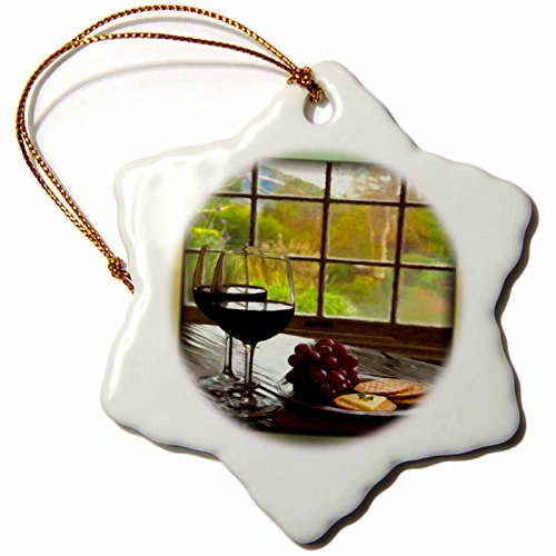 3dRose orn_48083_1 Napa Valley in Painting-Snowflake Ornament, Porcelain, 3-Inch