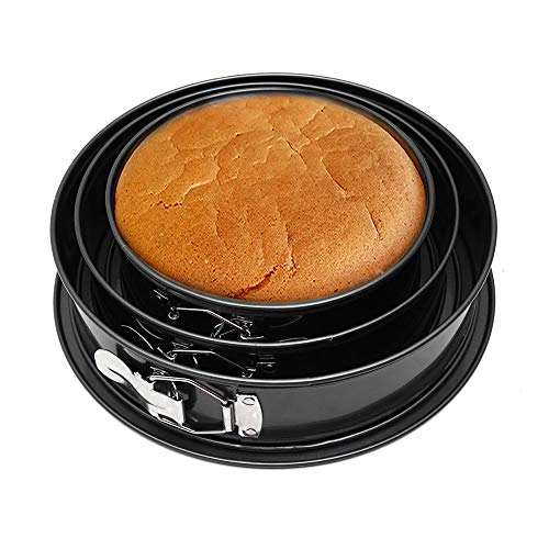 N/D Yisika Kuchenform Rund Inspiration Springform Cake Pans Runde Backform mit Flachboden Kuchenformen auslaufsicher, antihaftbeschichtet, 3 Größen Enthält 20cm/22cm/24CM