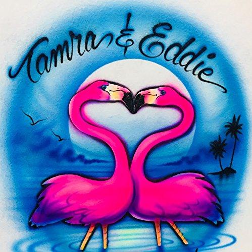 Flamingo on the Beach Airbrush T Shirt