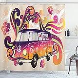 ABAKUHAUS Duschvorhang, Illustration Hippie VW T1 Bus Warme Bunte Farbtöne Creme Hintergr& Volkswagen Digital Druck, Blickdicht aus Stoff inkl. 12 Ringen Umweltfre&lich Waschbar, 175 X 200 cm