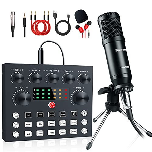 Podcast Equipment Bundle, Live Streaming Audio Interface with DJ Mixer ALL-IN-ONE Sound Mixer Microphone Perfect Recording for PC/Laptop/Smartphone, OBS match YouTube, Tiktok, Twitch, Facebook live