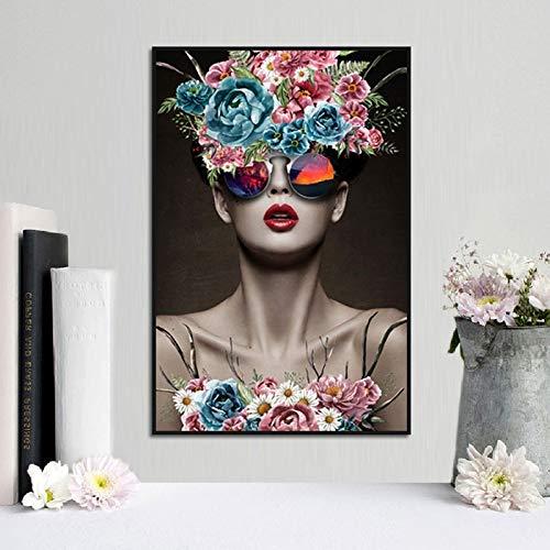 Mubaolei Gafas de Sol Corolla de Estilo nórdico para Mujer, decoración de Sala de Estar Sexy, Lienzo de Pared, Pintura al óleo, Pintura artística 40x50cm