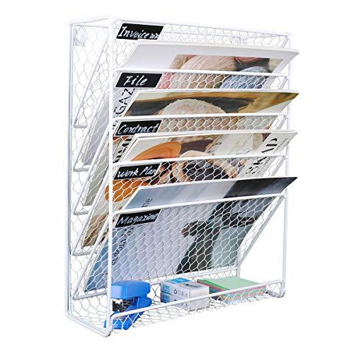 EasyPAG 6 niveles A4 malla de alambre de pollo en bandeja para colgar archivos de pared, organizador de correo, estante de almacenamiento, color blanco