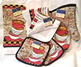 Home Collections Coffee Time 6 Pc Kitchen Linen Set - Includes Kitchen Towel, Oven Mitt, Hot Pads, Dish Cloths