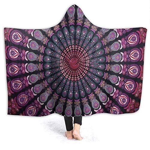 XCNGG Hippie - Manta térmica con capucha con patrón indio, de franela, de alta calidad, resistente al viento, con capucha, manta térmica con capucha, manta cómoda con capucha para cama, sofá o coche