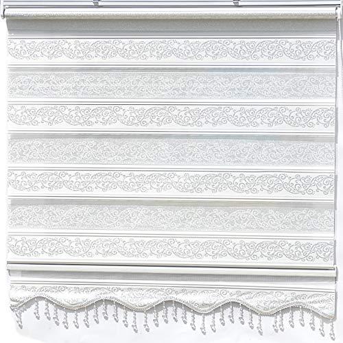 Doppelrollo Weiß Silber glitzert Duorollo für Fensterrollos Gardinen Zebra Perde 60 x 200 cm