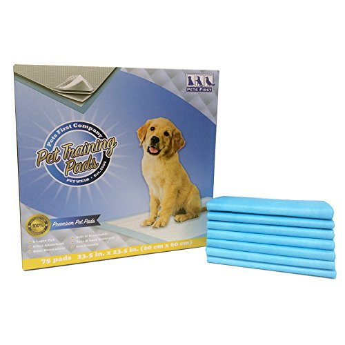 Pets First Premium Training Dog Pads (75 Count) Newest Upgraded 2021 Version - Most Absorbent Puppy Pads. Latest Tech of Doggy Pads for Training Pets & Avoiding Leaks, Blue, Model: TP-6075
