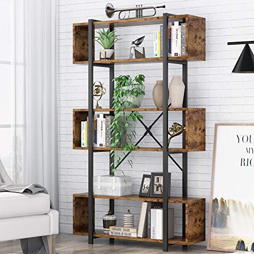 Bücherregal, Industrielles Bücherregal Freistehendes Display Dekoratives Regal, 97x30 x180cm (Rustic Brown)