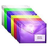 Busta con Bottone (Confezione da 24)- A5, 6 Colori Assortiti, Portadocumenti, Buste trasparenti per Certificati, Ricevute e Buoni