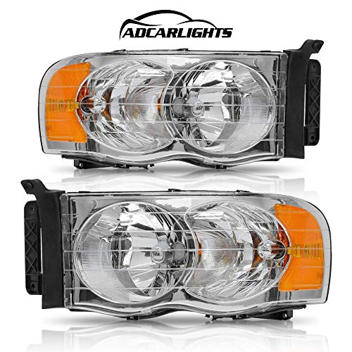 Headlight Assembly for Dodge Ram Pickup Truck 2002 2003 2004 2005/1500 2500 3500,Replacement Headlamps Chrome Housing with Amber Reflector Clear Lens (Passenger and Driver side)