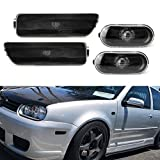 iJDMTOY Euro Smoked Lens Bumper & Fender Side Marker, Repeater Light Housing Combo Compatible With Volkswagen: 1999-2005 MK4 Golf GTI R32 Rabbit Jetta, Replace OEM Sidemarker Lamps