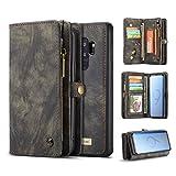 Reemplazo compatible For el caso del Galaxy Plus S9, Dos en Uno Multi-funcional caja de cuero hecha a mano de la vendimia con las ranuras de tarjeta de crédito y la cubierta desmontable, de primera ca