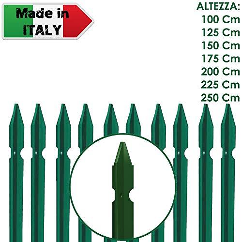 10 PZ Palo paletto in ferro a T 30x30x3 mm plastificato verde per rete recinzione metallica TUTTE LE MISURE - MADE IN ITALY (H 200 cm)