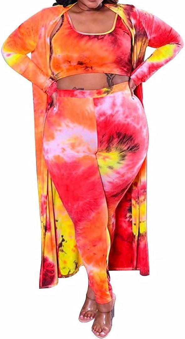 Women's Plus Size 3 Piece Sets Outfit Cardigan Tank Crop Top and Bodycon Long Pants Jumpsuit Romper Set