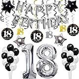 sancuanyi 18th Happy Birthday Cumpleaños Globo Plata 18 Globo;Balloon de Látex&Estrella, Colgando Remolinos Partido para el Cumpleaños de 18 Años - Adecuado para niños y niñas.