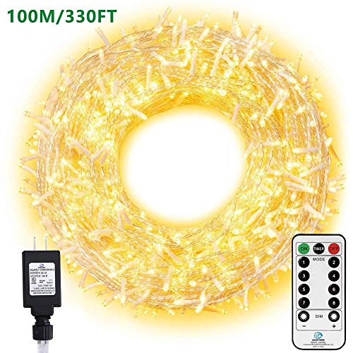 Ollny Outdoor String Lights 800 LED 330FT Warm White Long Fairy Light with Remote Control Timer Christmas Lights Plug in 8 Modes Twinkle Lights for Wedding Party Christmas Decoration Lights Indoor