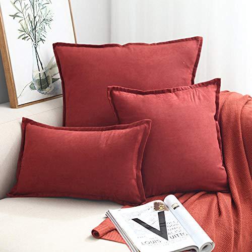 WANGLUYAO Funda de Almohada con Volantes Cuadrados Funda de Almohada de Piel de venado Funda de Almohada artículos para el hogar Funda de Almohada Decorativa, Juego de 3-Rojo Oxidado