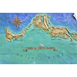 CANVAS ON DEMAND Mural Map of Turks and Caicos Islands Wall Decal, Map Artwork