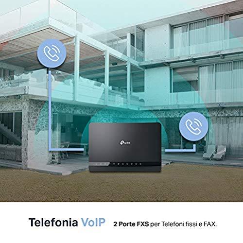 TP-Link Archer VR1210v Modem Router EVDSL fino a 300Mbps, Wi-Fi AC1200 2,4/5GHz, Telefonia fissa e VoIP, 5 Porte Gigabit, 1 USB 3.0 (Verifica compatibilità con la tua linea)