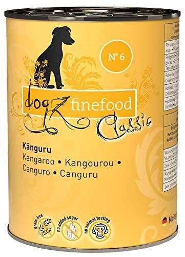 dogz finefood Hundefutter nass - N° 6 Känguru - Feinkost Nassfutter für Hunde & Welpen - getreidefrei & zuckerfrei - hoher Fleischanteil, 6 x 400 g Dose