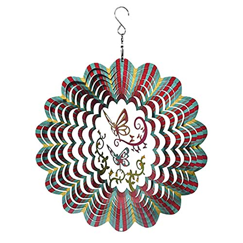 Spinner de Viento Ornamento de Mariposa Spinner Adorno Decoracion Molino de Viento Decoración 3D Carrillón de Metal - Colgante de Eólica para el Hogar Jardín Atractiva Decoración para Habitaciones (A)