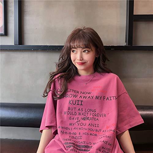ZWH AliExpress 2019 Mujeres de la Camiseta de Manga Corta Mujeres de Gran tamaño Hermana de Grasa afluencia de Estudiantes Suelta Cartas Comercio Exterior de Las Mujeres Impresas