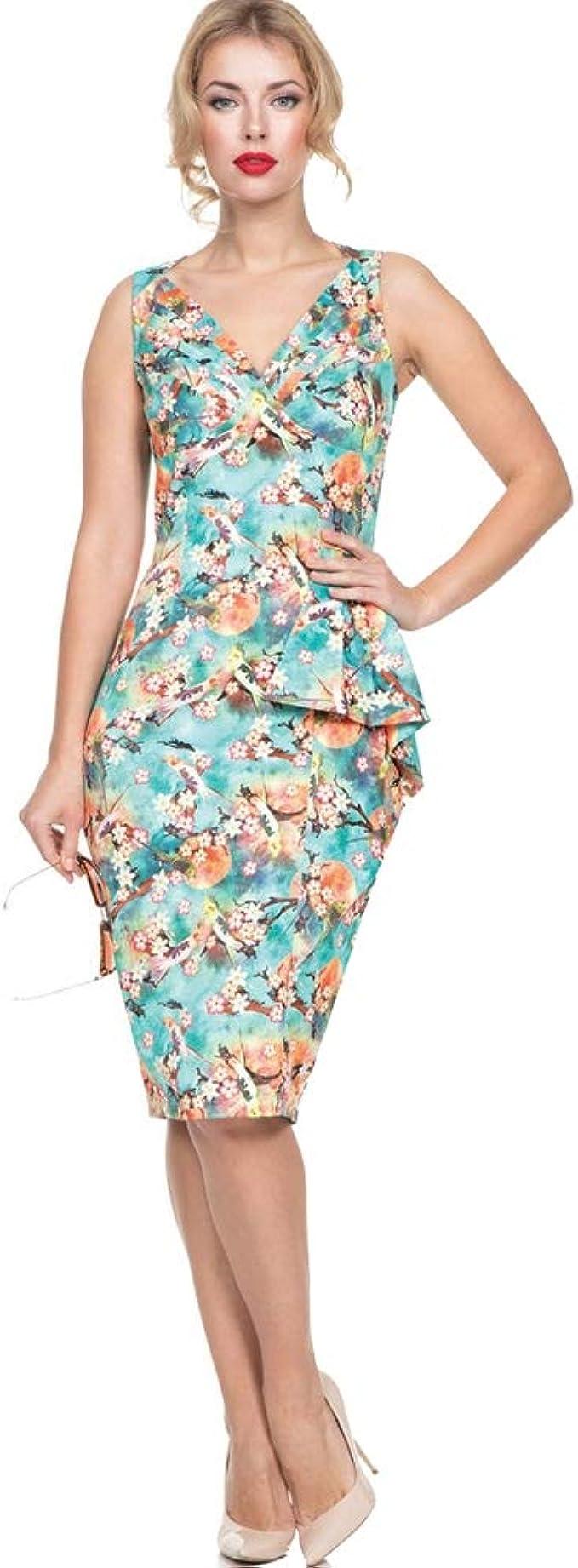 Pin Up Dresses | Pinup Clothing & Fashion Voodoo Vixen Jessa Tropical Bird Print Pencil Dress Green  AT vintagedancer.com