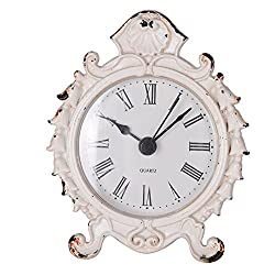 NIKKY HOME Baroque Style Pewter Quartz Small Round Table Clock 3.12'' by 1.35'' by 3.87'', White