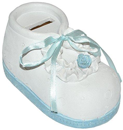 alles-meine.de GmbH Spardose Babyschuh - blau für Baby ´s Jungen - stabile Sparbüchse aus Kunstharz - Geldgeschenk Baby zur Geburt Taufe Geld Sparschwein - Babyschuhe Schwanger /..