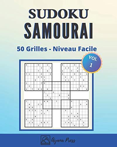 Sudoku Samourai - 50 Grilles - Niveau Facile: Livre de Sudoku pour Adultes Grand format - 5 grilles en une - Super idée cadeau - Jeux d'exercice cérébral et de détente